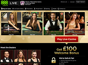 888's live casino page