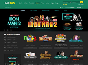 Bet365 Casino's home page