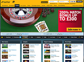 The lobby of Betfair Casino UK