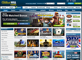 The landing page of William Hill casino
